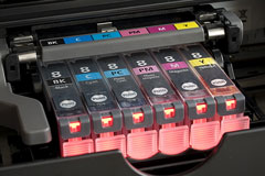 ink cartridges installed in a color printer